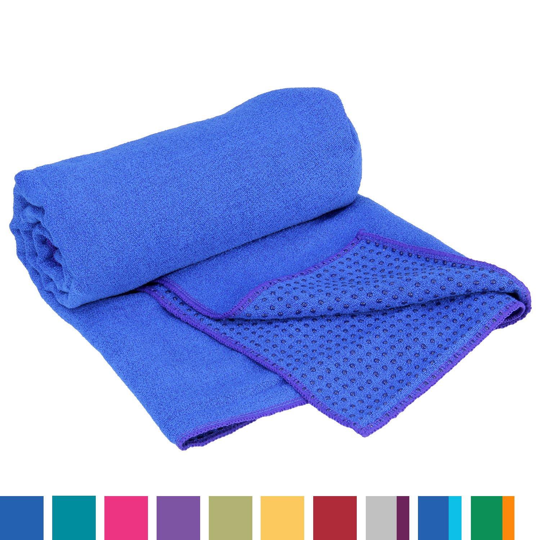 Yogatuch GRIP2, mit Noppen, rutschfest, Yogamattenauflage, Yoga Grip Towel, Yogatuch mit Antirutsch-Noppen, sehr gut für Hot Yoga Yoga-Handtuch mit Antirutsch-Noppen Mikrofaser-Yogatuch sehr gut für Hot Yoga (dunkel-blau) antibakteriell