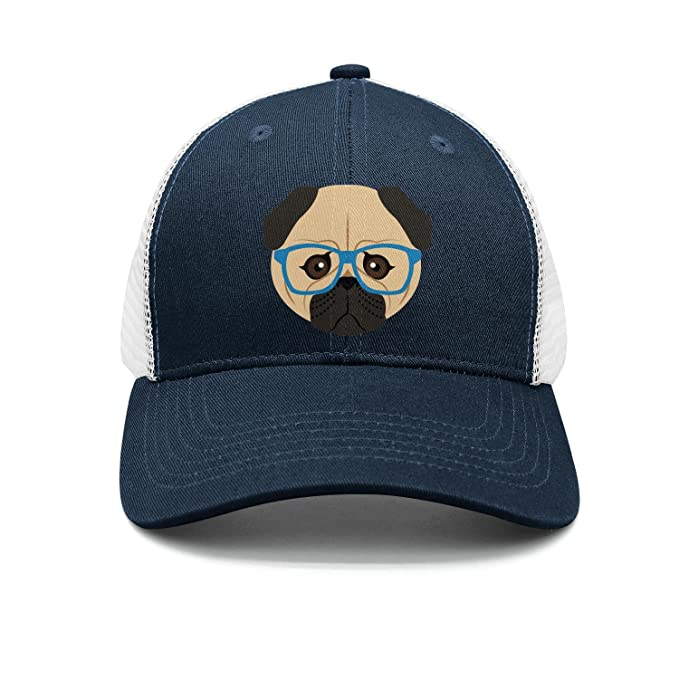 3d80919ae23ab A Pug Dog in Glasses and a Bow tie Summer Baseball mesh caps Trucker Cap