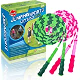 Kids Fitness Equipment Jump Skipping Rope for Girls Boys,Adjustable Segmented Rope Pink and Green 2 Pack