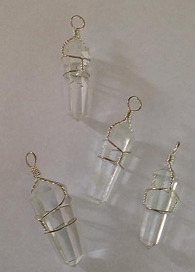 Amazon silver plate clear quartz wire wrapped pendant clear silver plate clear quartz wire wrapped pendant aloadofball Choice Image