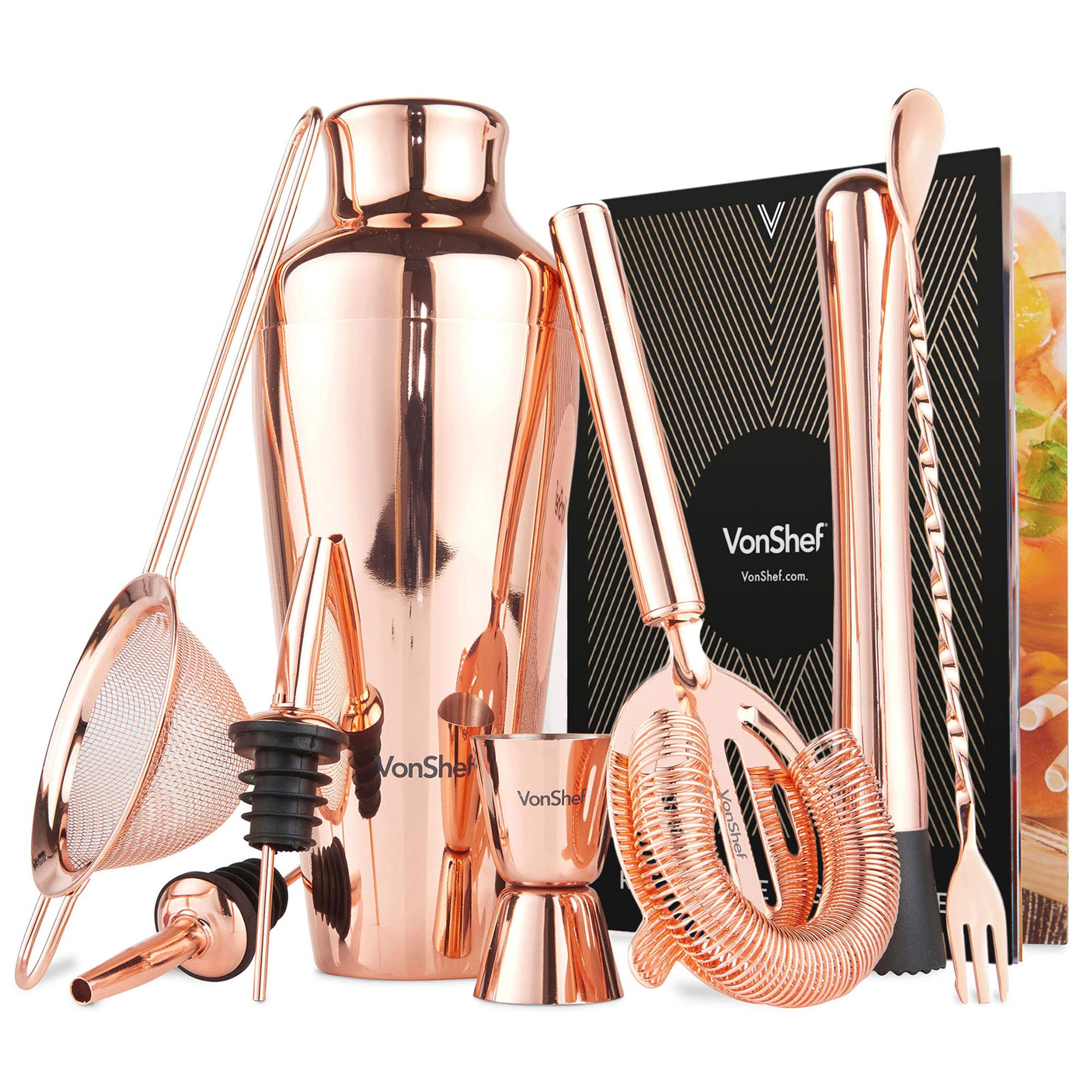 VonShef Parisian Cocktail Shaker Barware Set in Gift Box with Recipe Guide, Cocktail Strainers, Twisted Bar Spoon, Jigger, Muddler and Pourers, Copper, 9 Piece Set, 17oz