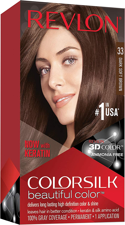 Revlon ColorSilk Beautiful Color 33 Marrón coloración del cabello - Coloración del cabello (Marrón, Dark Soft Brown)