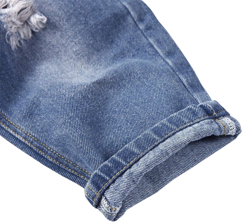 De feuilles Baby Latzhose Jeans Jungen M/ädchen Denim Latzhose Kinder Strech Destroyed Jeans