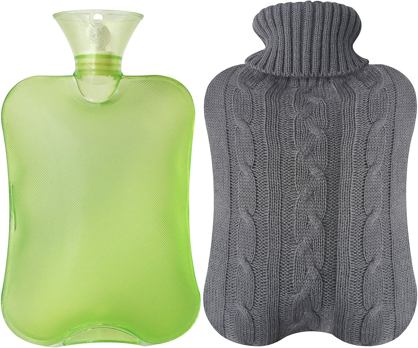 Attmu Classic Rubber Transparent Hot Water Bottlewith Knit Cover - 2 Fl Oz, Green