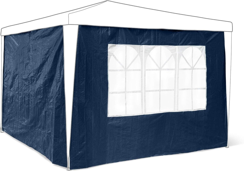 Relaxdays Pareti Laterali per Gazebo//Pavillon Chiusura a Lampo Blu 0.5x290x190 cm Set 2 Pezzi