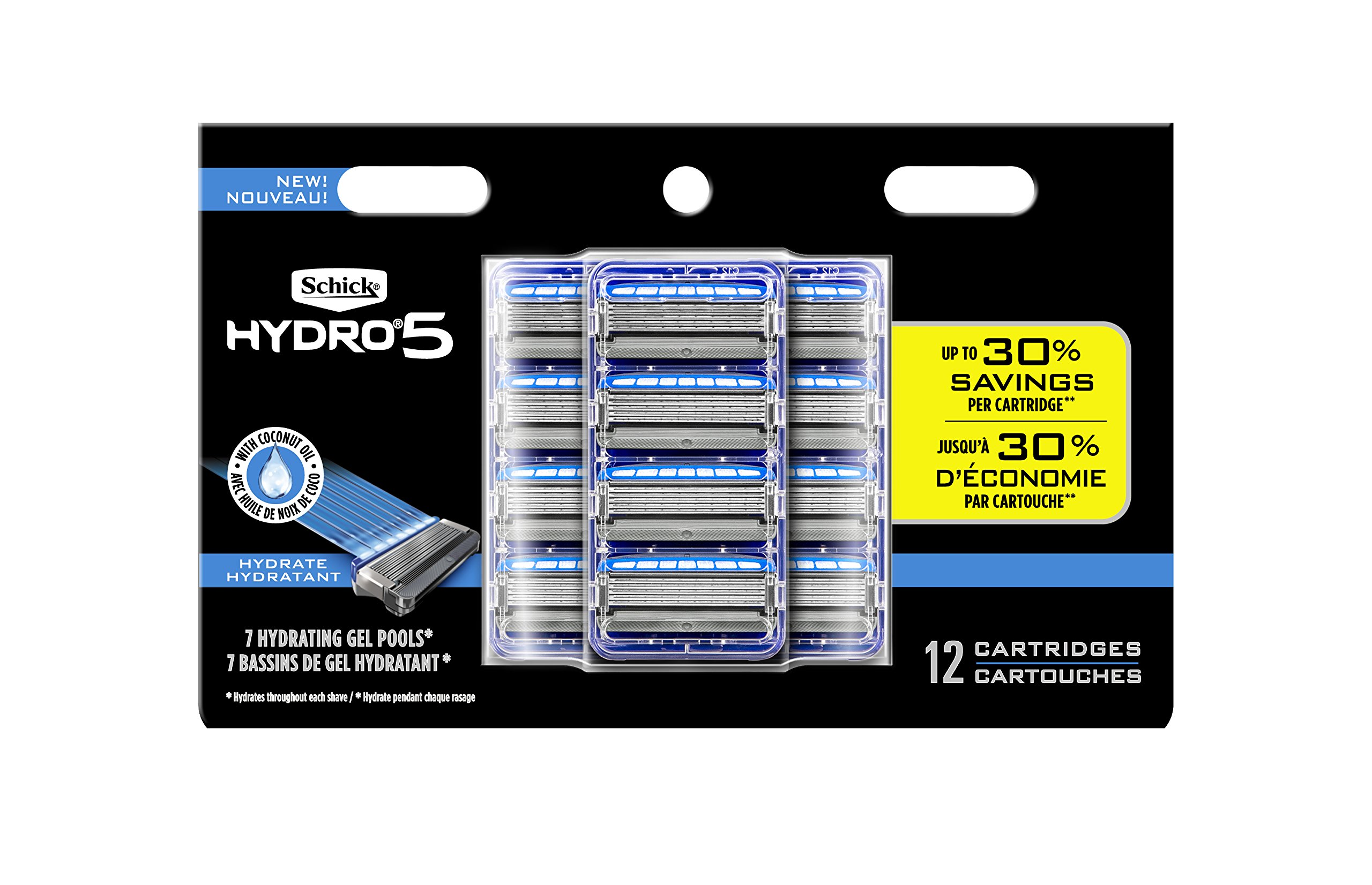 Schick Hydro 5 Sense Hydrate Razor Refills for Men, Pack of 12 by Schick