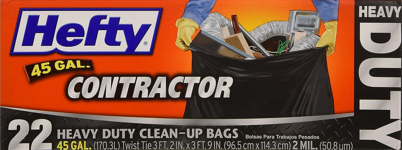 """Pactiv Corp E2-4524 """"Hefty"""" Heavy Duty Contractor Bag 45 Gallon - Gray/ 22 count"""
