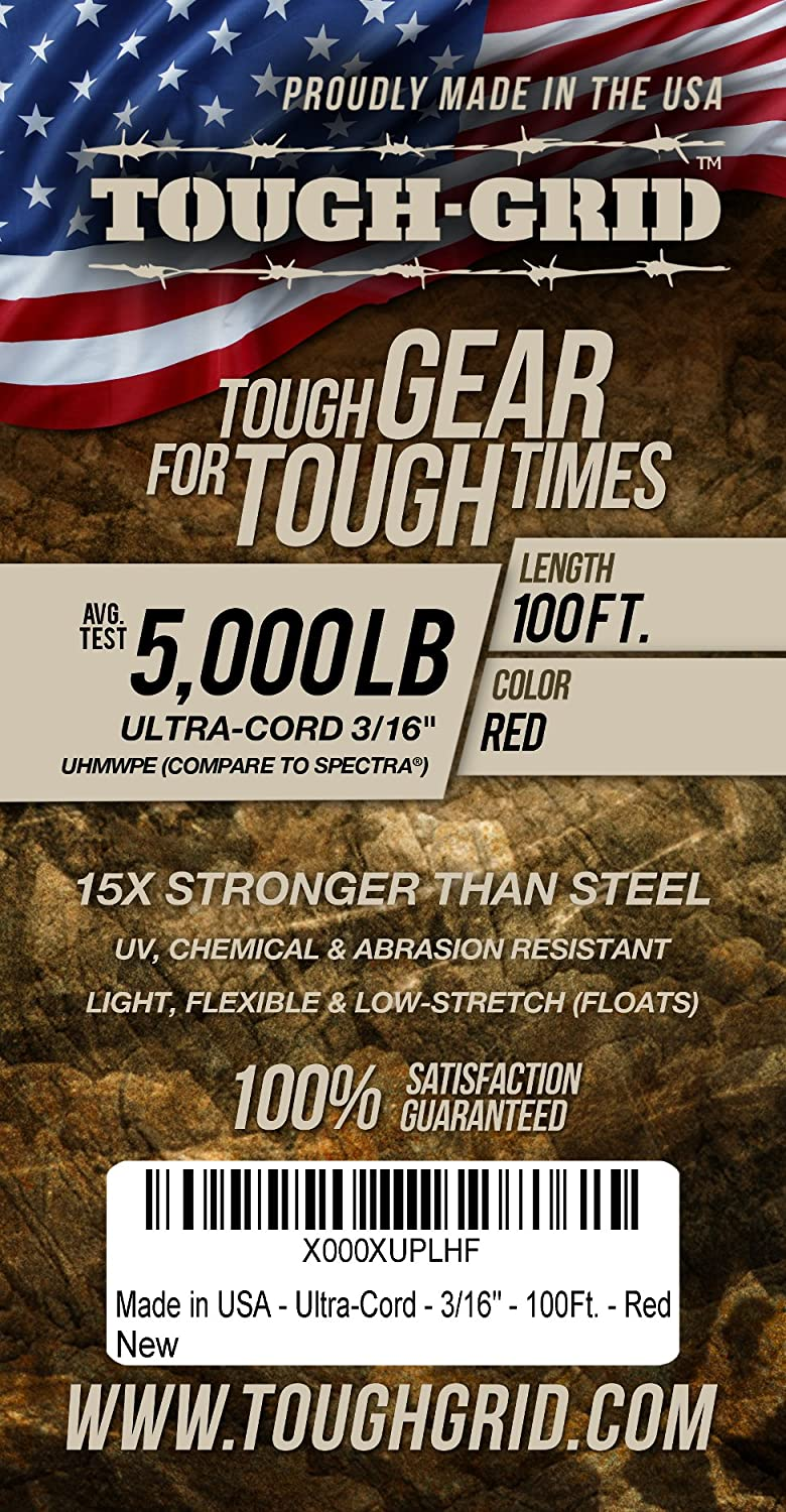 TOUGH-GRID New On 100Ft 5,000lb Ultra-Cord 3//16-15X Stronger Than Steel /& It Floats Camping /& Towing Made in USA. for Boating 100/% UHMWPE Free Shrink Tube