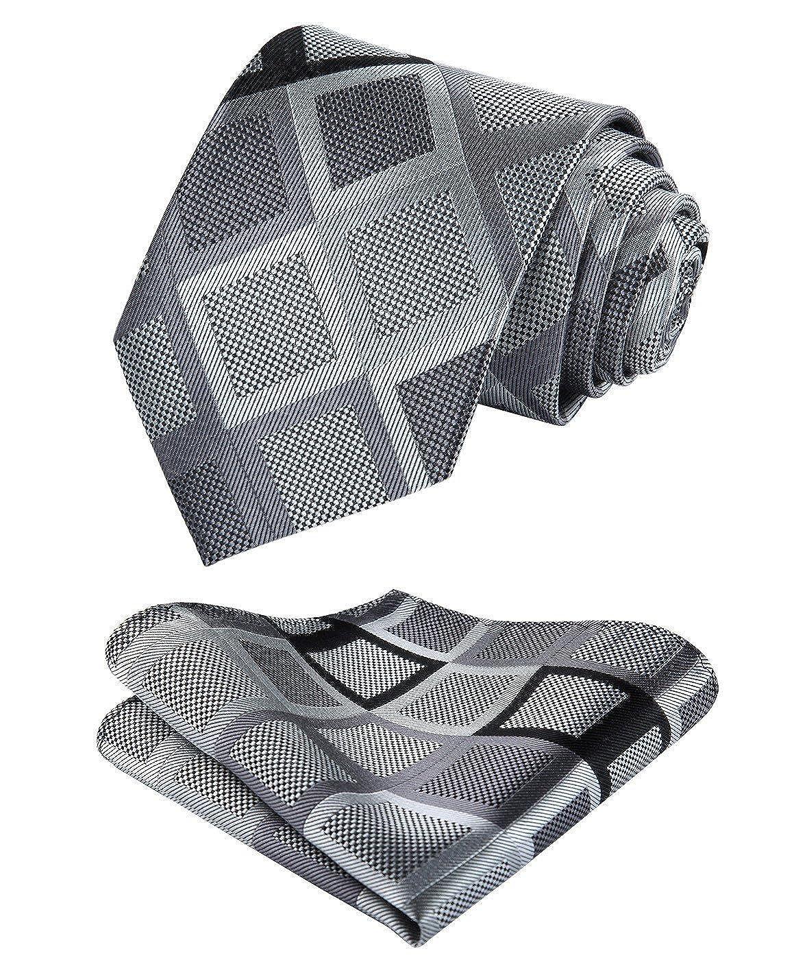 HISDERN Men's Check Plaid Tie Handkerchief Woven Classic Necktie & Pocket Square Set TS4017L8S