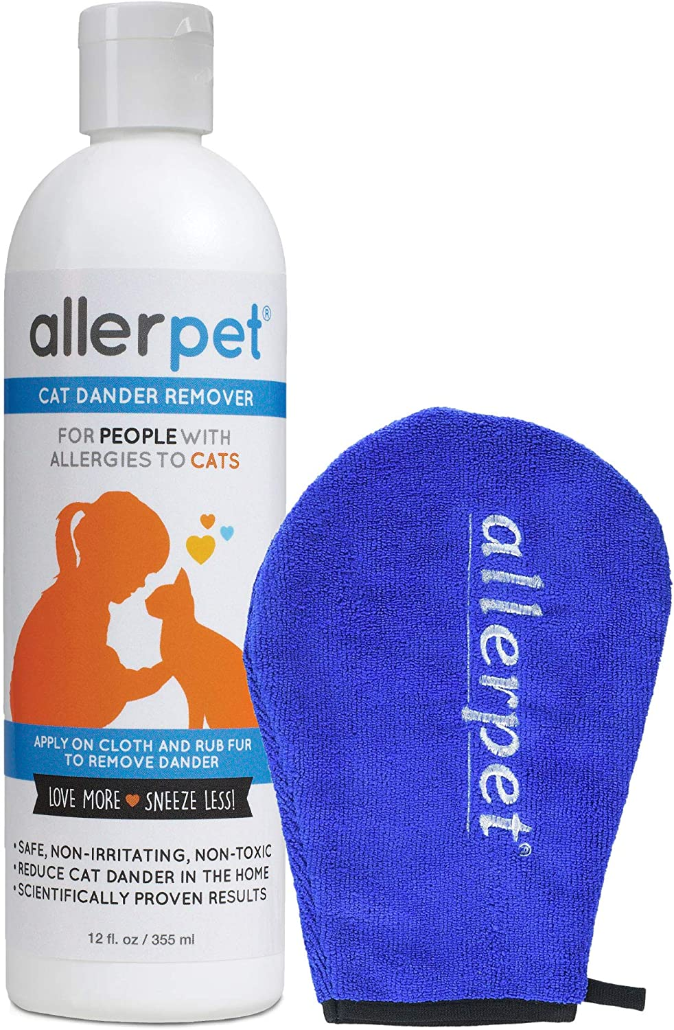 Allerpet Cat Dander Remover with Bonus Solution Application Mitt - 100% Non Toxic Pet Allergen Reducer - Scientifically Proven for Effective Cat Allergy Relief - Proudly USA Made (12oz) 8162BRUvfnfL