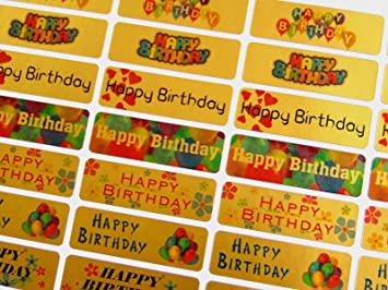 Happy birthday greeting stickers gold self stick labels for cards happy birthday greeting stickers gold self stick labels for cards envelopes craft m4hsunfo