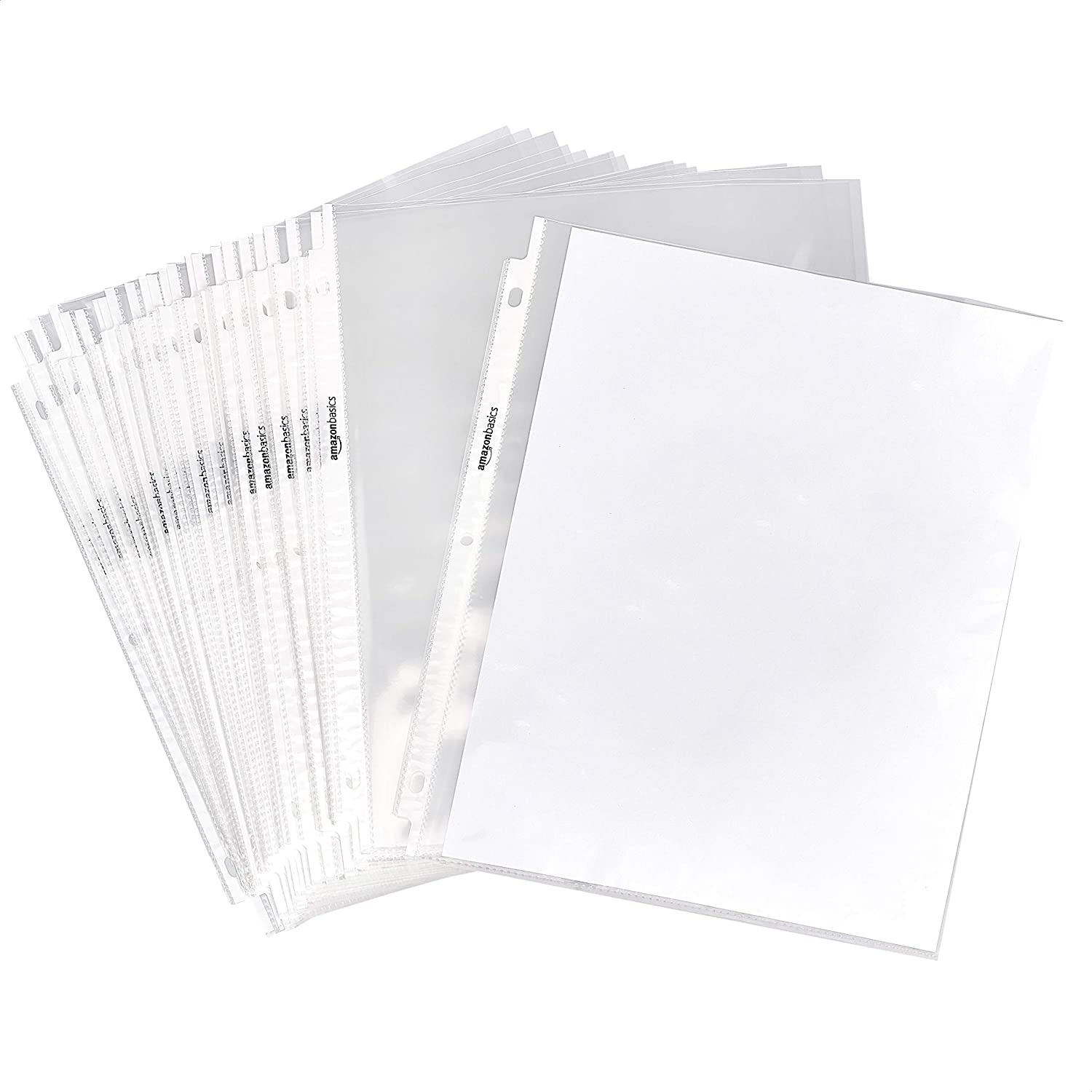 "AmazonBasics Clear Sheet Protector for 3 Ring Binder, 8.5"" x 11"" - 500-Pack"