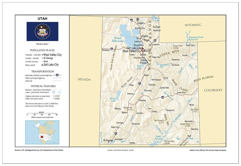 Amazon Com 13x19 Utah General Reference Wall Map Anchor Maps Usa