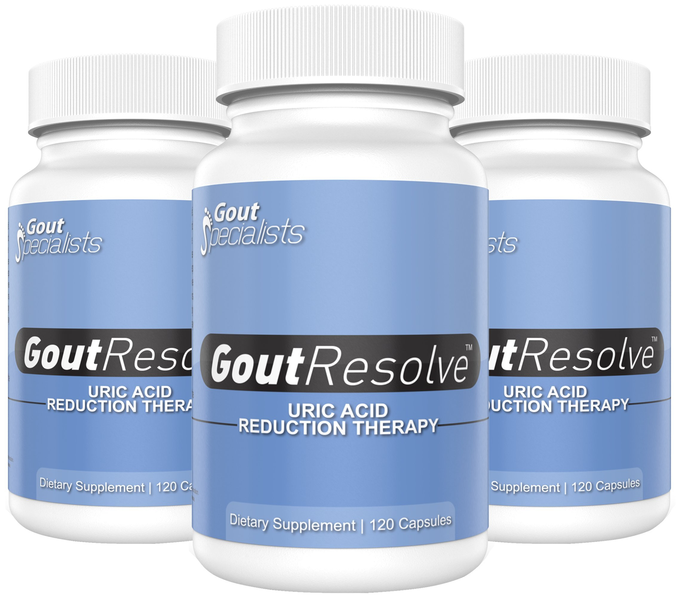 Uric Acid Pain Relief - Gout Resolve - Uric Acid Reduction Formula - 3 Pack - All Natural - Helps Promote Healthy Kidney & Liver Function, Supports Reduction of Uric Acid & Gout