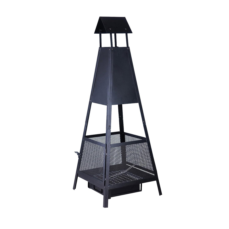 KAMINO FLAM Feuerstelle Despina 481558 für den Garten oder den Balkon, der pyramidenförmige Terrassenofen besteht aus lackiertem Stahlblech, der schwarze Kamin ist mit einer Ascheschublade ausgestattet, sodass überflüssige Asche nicht auf den Boden fällt, die Maße betragen ca. 49 x 49 x 131 cm