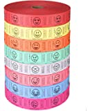 BUNDLE OF 4 ROLLS: Raffle Roll of 2,000 Consecutively Numbered Tickets, ASSORTED Emoji Crying, Smiling, Tear Drop, Wink, Sunglass, Hanging Tongue, Heart Eyed, Silly Faceby Indiana Ticket Company