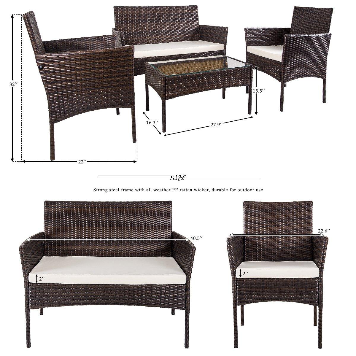 Merax 4 PC Outdoor Garden Rattan Patio Furniture Set Cushioned Seat Wicker Sofa (Brown) by Merax (Image #7)