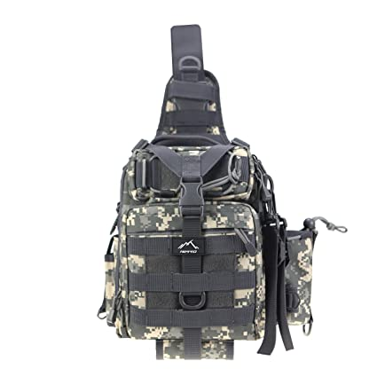 d16dd72ffc Hetto Tactical Sling Chest Pack Small Waterproof Nylon Fishing Tackle Bag  MOLLE One Strap Crossbody Backpack Military Shoulder Bag with Water Bottle  for ...