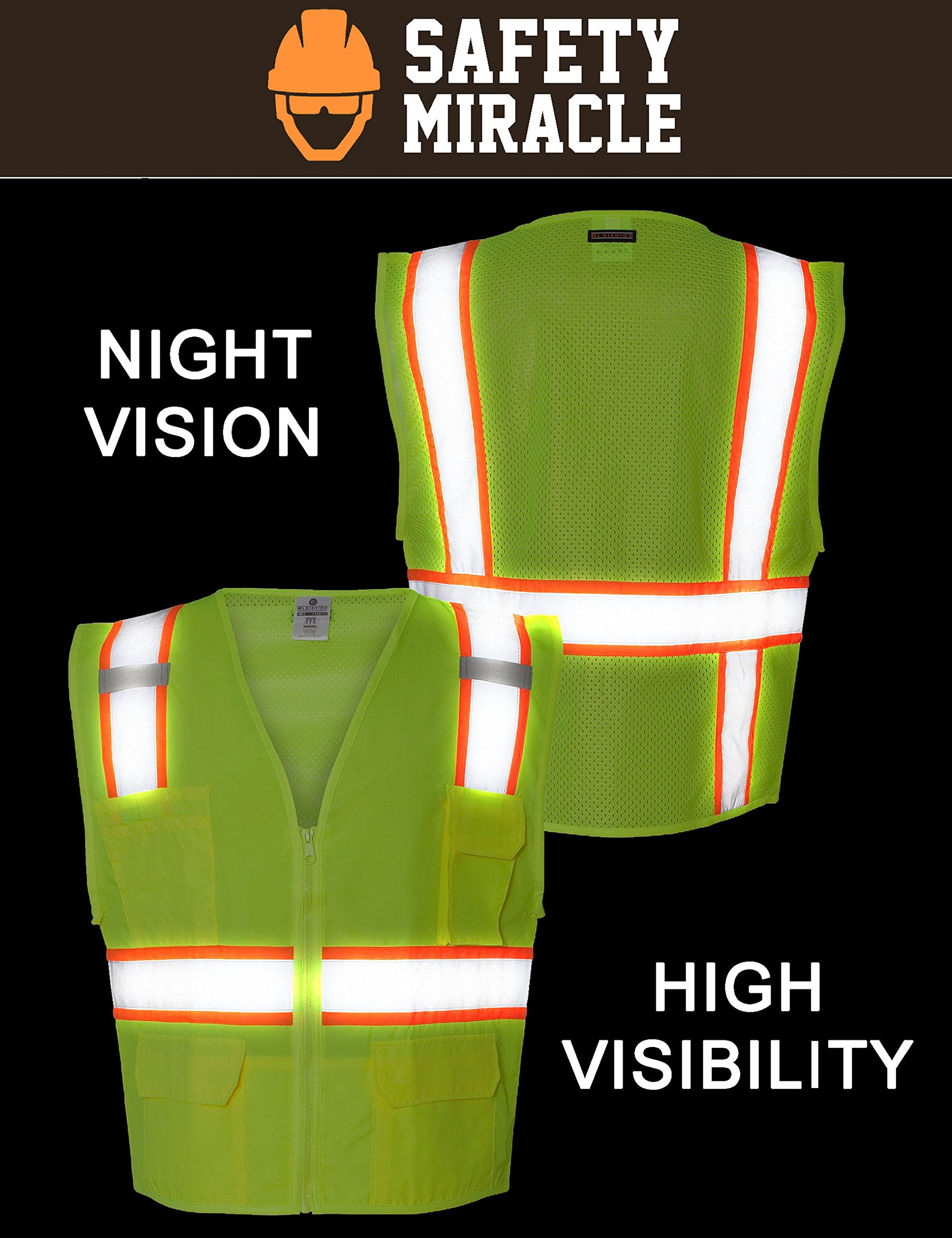 Custom Safety Reflective Mesh Vest with Zipper - Personalized Drone Pilot Vest by Safety Miracle (Image #4)
