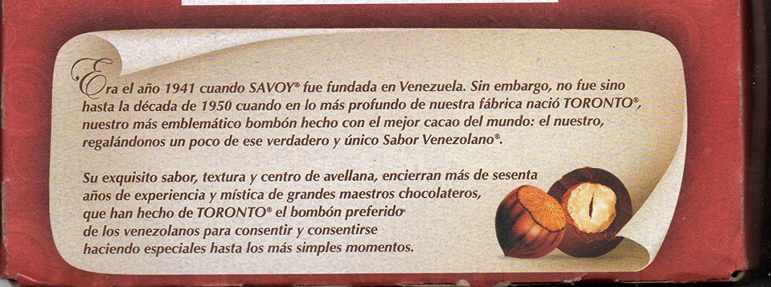 Toronto Avellana Cubierta con Chocolate SAVOY / Chocolate Covered Hazelnut. Caja de 324 gr / 11.41 Oz box (36 und/count caja/box) (10 CAJAS): Amazon.es: ...