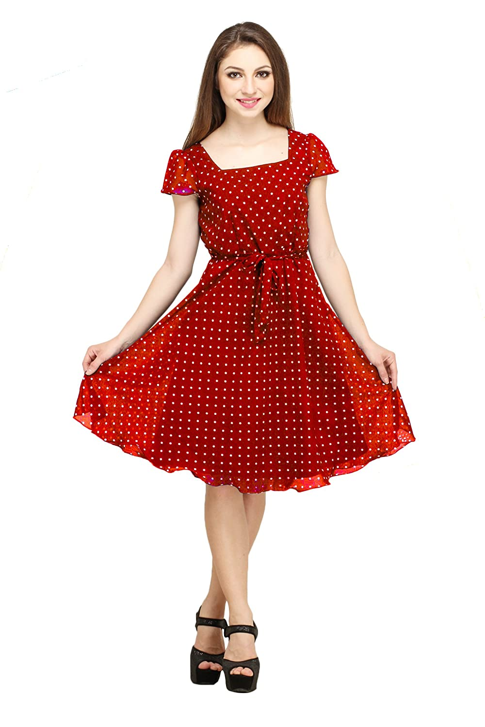 cec1f208f7a93 Colorfuel Women's Georgette Polka Dot Dress: Amazon.in: Clothing &  Accessories
