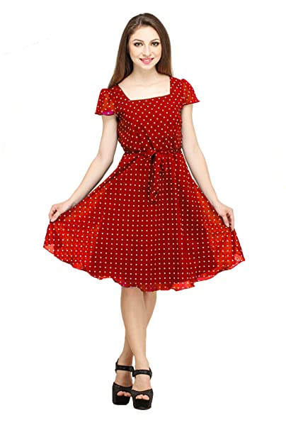 242e9ffa1f Colorfuel Women s Georgette Polka Dot Dress  Amazon.in  Clothing ...