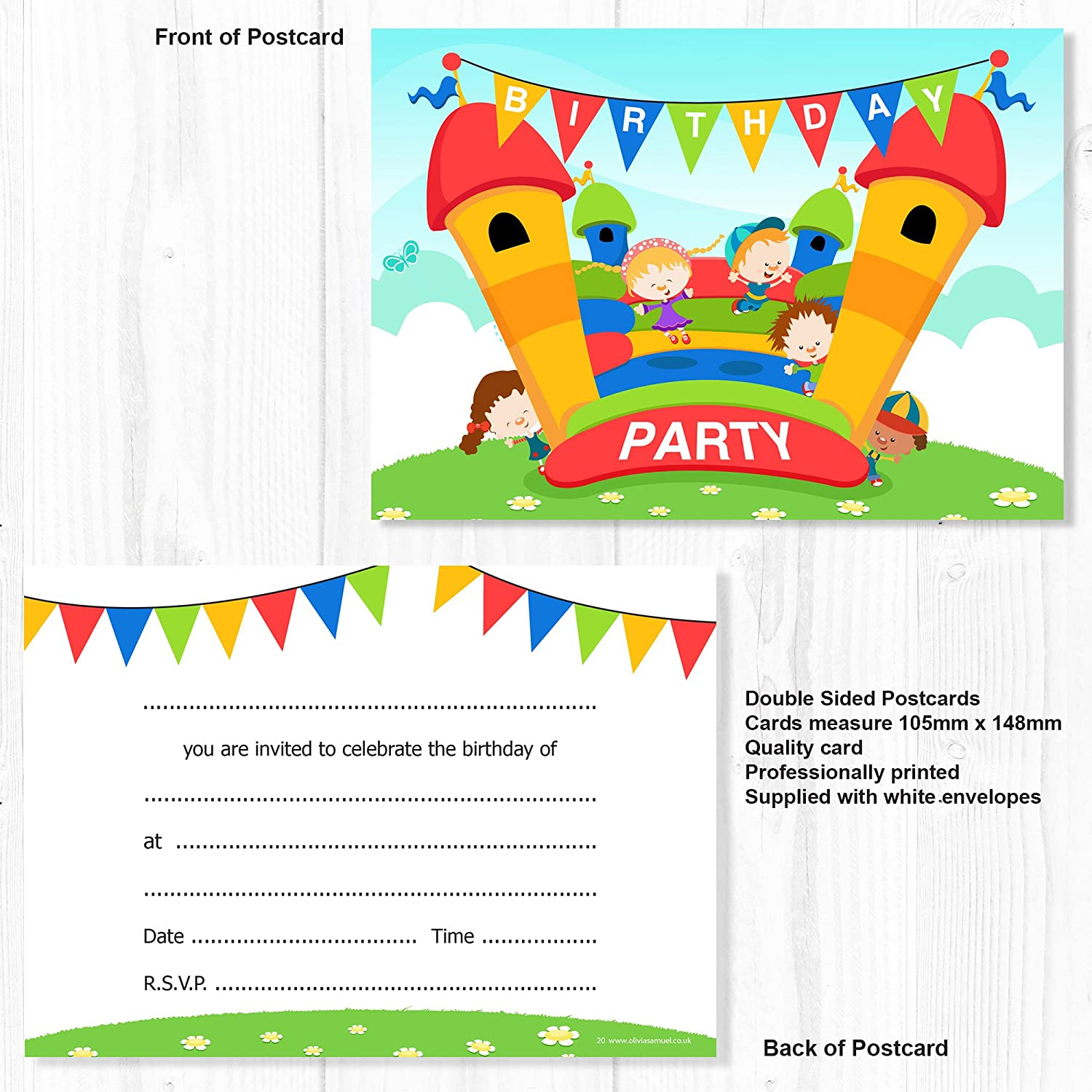 Olivia Samuel Bouncy Castle Party Invitations