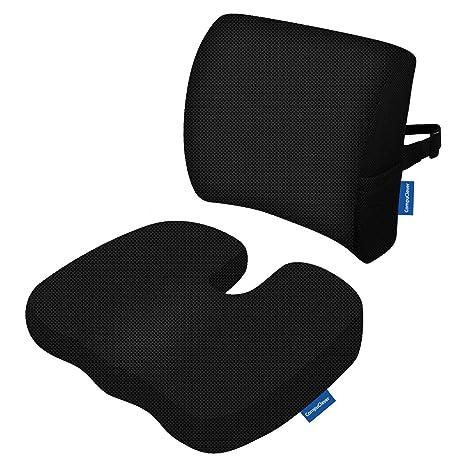 Memory Foam Cojines de asiento y soporte lumbar proporcionan alivio para el dolor de espalda inferior Ciática Tailbone Coccyx Almohada de asiento ...