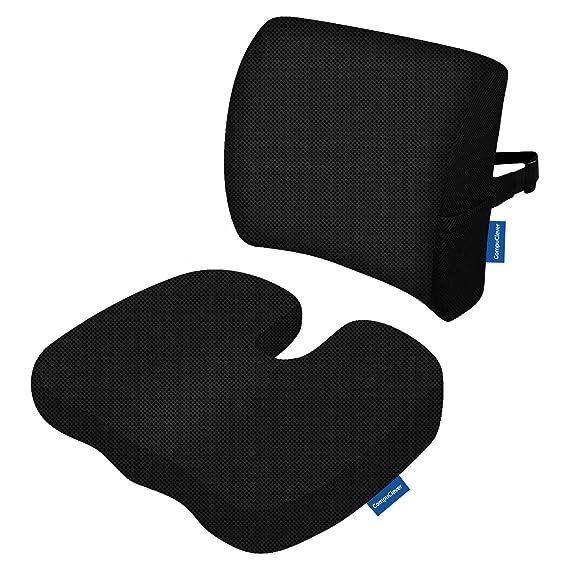 Memory Foam Cojines de asiento y soporte lumbar proporcionan alivio para el dolor de espalda inferior Ciática Tailbone Coccyx Almohada de asiento ortopédica ...