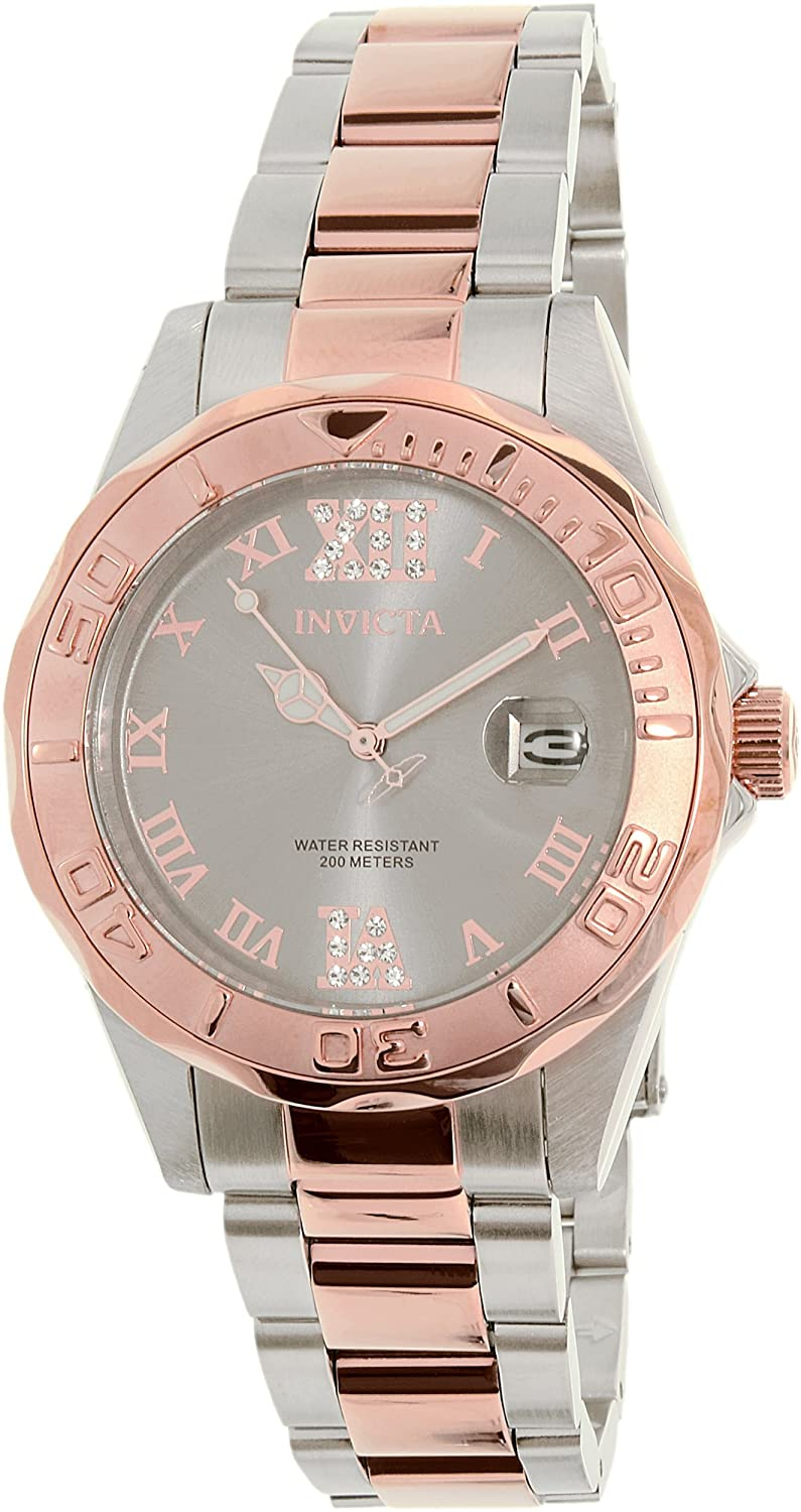 Amazon.com: Invicta 17022 Women's Pro Diver White Crystals Grey Dial Two  Tone Stainless: Invicta: Watches