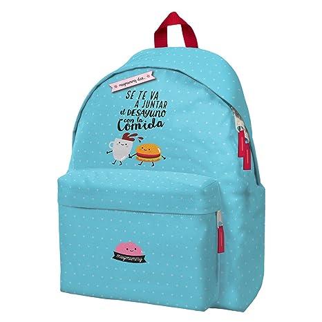 Mochila Escolar MUYMUMMY Se Te Va A Juntar, 42 cm. Daypack Azul