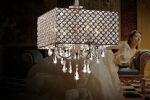 OOFAY LIGHT Modern Elegant 4 – Light Pendant Lights ,Chandelier Lgiht with Crystal Drops in Square Feather Living Room ,Dining Room , Bedroom