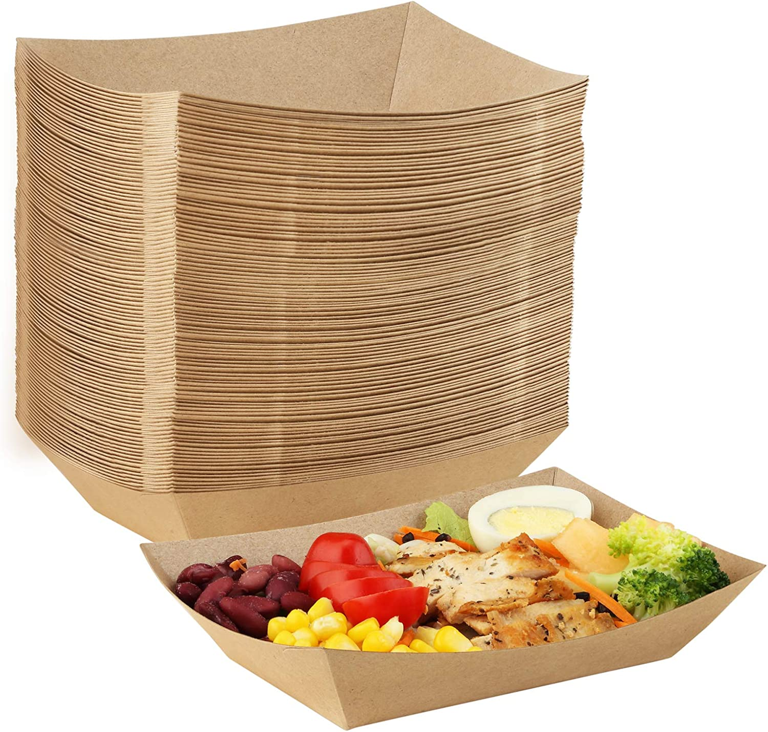 Eupako Paper Food Trays 3 Lb Capacity Disposable Kraft Paper Food Serving Tray Grease Resistant Boat (Brown, 100 Pack)
