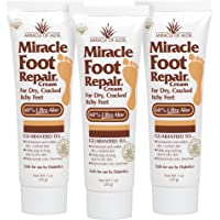 Miracle Foot Repair Cream 3-Pack 1 Ounce Tubes with 60% Organic UltraAloe | for Dry, Cracked, Itchy Feet | Fast-Acting | Super-Moisturizing | Helps Athlete's Foot | Have Soft, Baby Feet Once More
