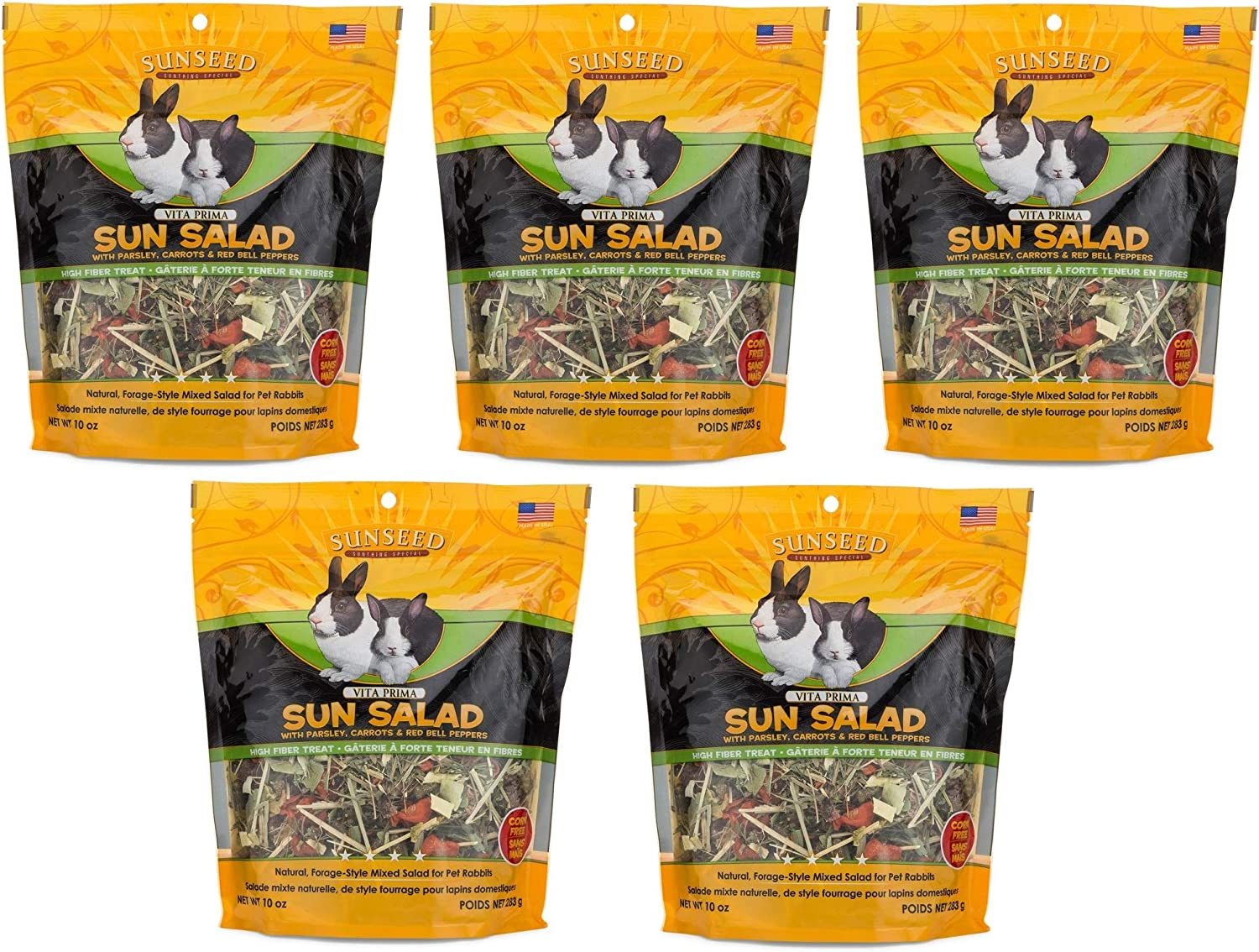 Sunseed Company 5 Pack of Vita Prima Sun Salad, 10 Ounces Each, High-Fiber Treat for Rabbits