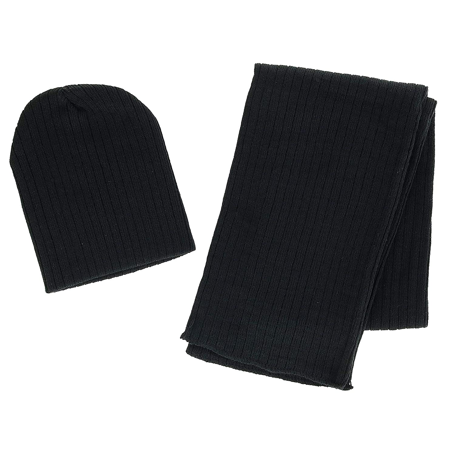 CTM Girls 4-7 Ribbed Slouchy Beanie Hat and Scarf Set