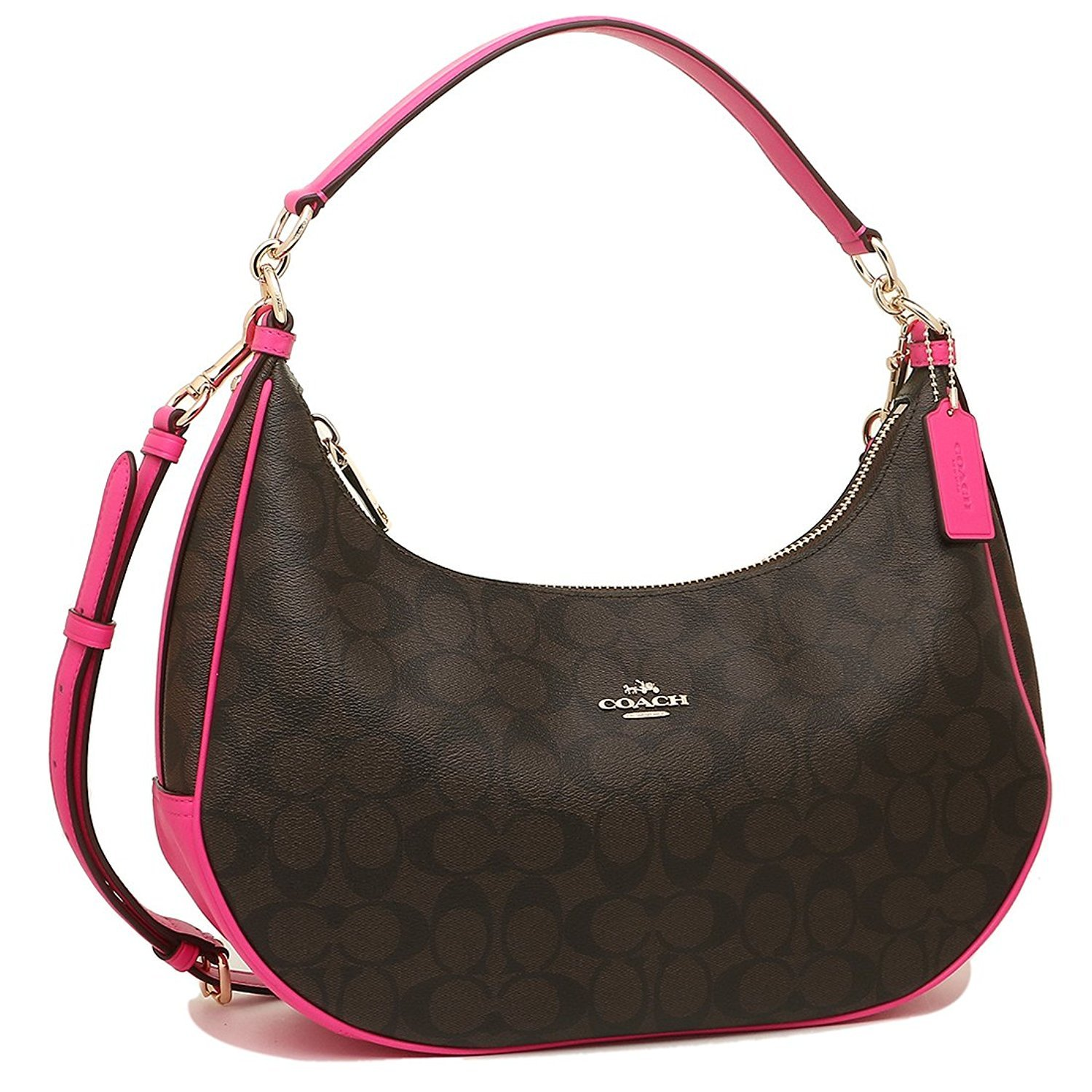 Coach Signature East/West Celeste Convertible Hobo Crossbody Handbag (Fuchsia)