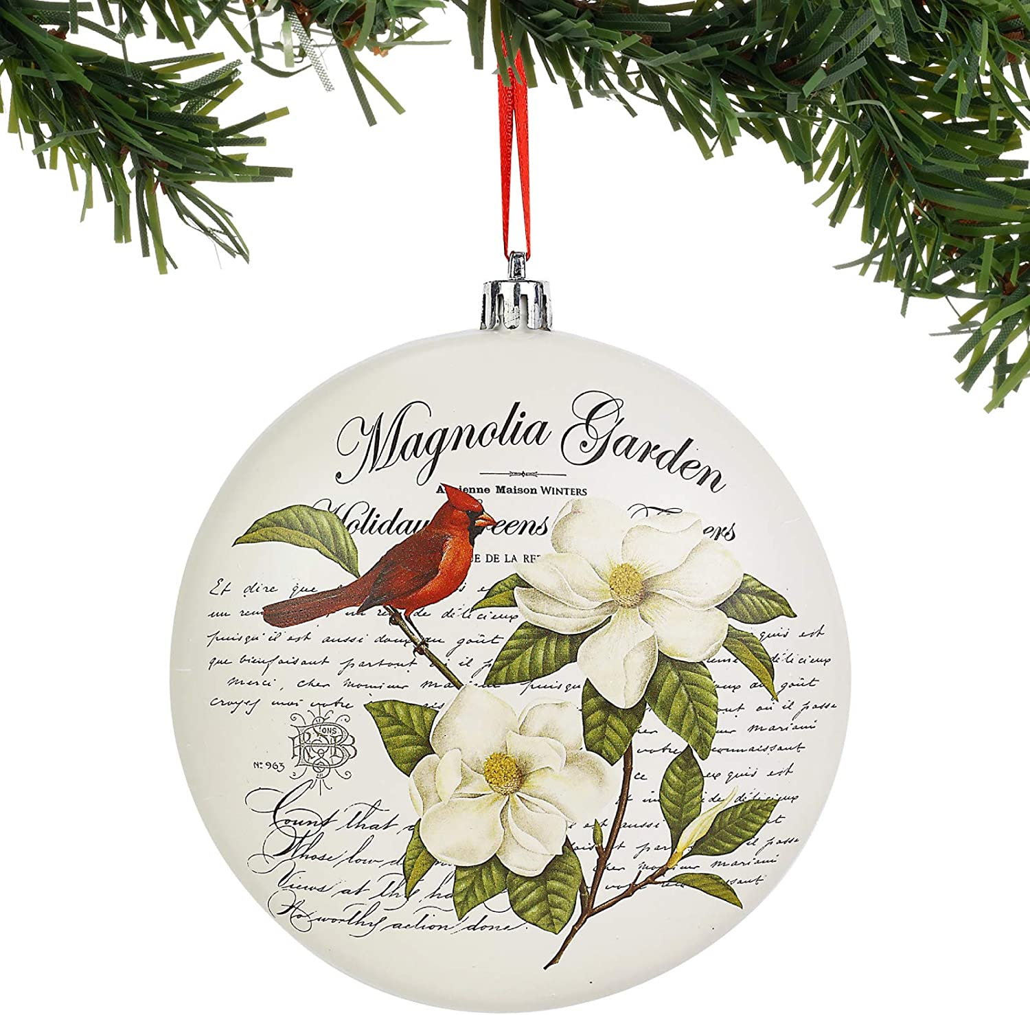 Department 56 Magnolia Garden and Cardinal 2-D Ball Hanging Ornament, 5 Inch, Multicolor