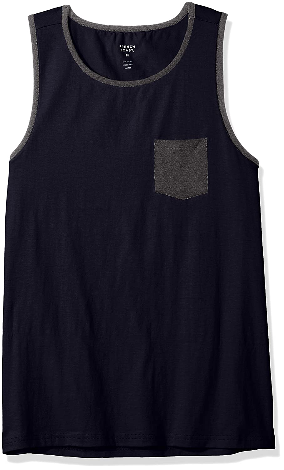 French Toast Boys Tank with Pocket Navy 6 LA3577