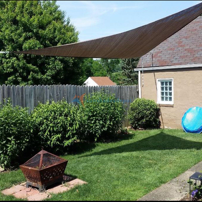 Sombrillas Depot un Anillo diseño Cable de Acero Alambre Refuerzo Derecho Techo Solar Triangular Beige Resistente Permeable 260 G/m²: Amazon.es: Jardín