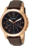 Fossil Men's Grant Quartz Stainless Steel and Leather Chronograph Watch, Color: Rose Gold, Brown (Model: FS5068IE)