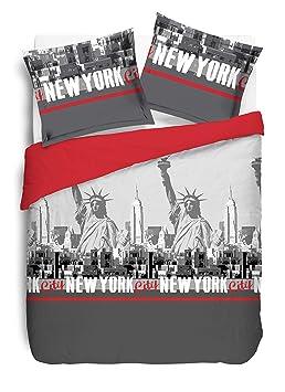 Vision Parure De Couette New York Rouge 220x240 Amazon Fr Cuisine