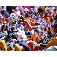 """$142 » Barry Sanders Oklahoma State Cowboys Autographed 8"""" x 10"""" Jumping Over Pile Photograph - Fanatics Authentic Certified"""