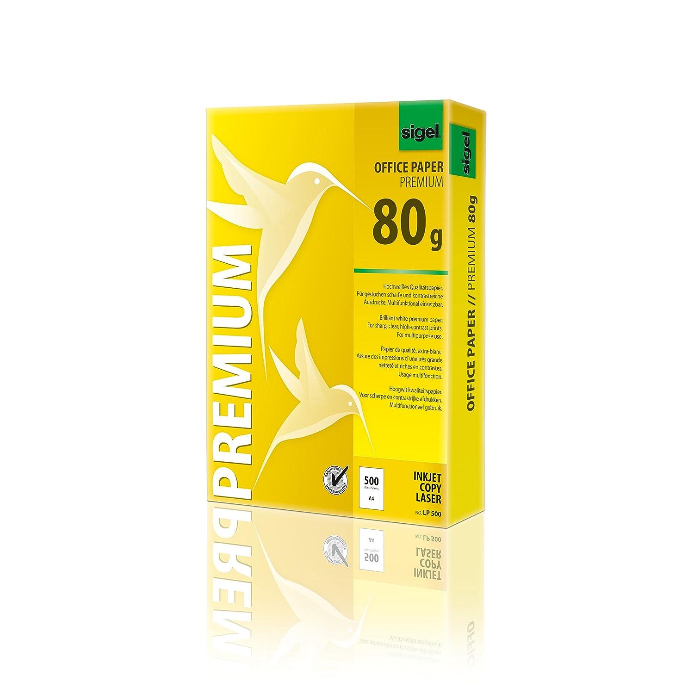 Sigel Premium Office LP500 Papier blanc Impression recto-verso Pour imprimantes laser et jet d'encre + copieurs 80 g, A4 500 feuilles (Import Allemagne)