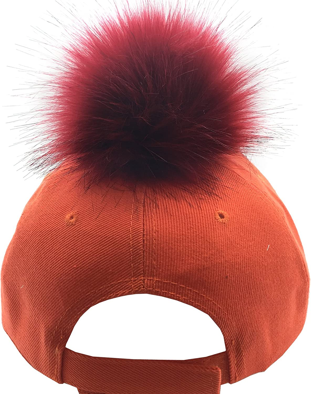 Womens Faux Fur Pom Pom Acrylic Fabric Baseball Cap pompom330