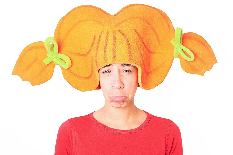 Peluca de gomaespuma dos coletas naranja.