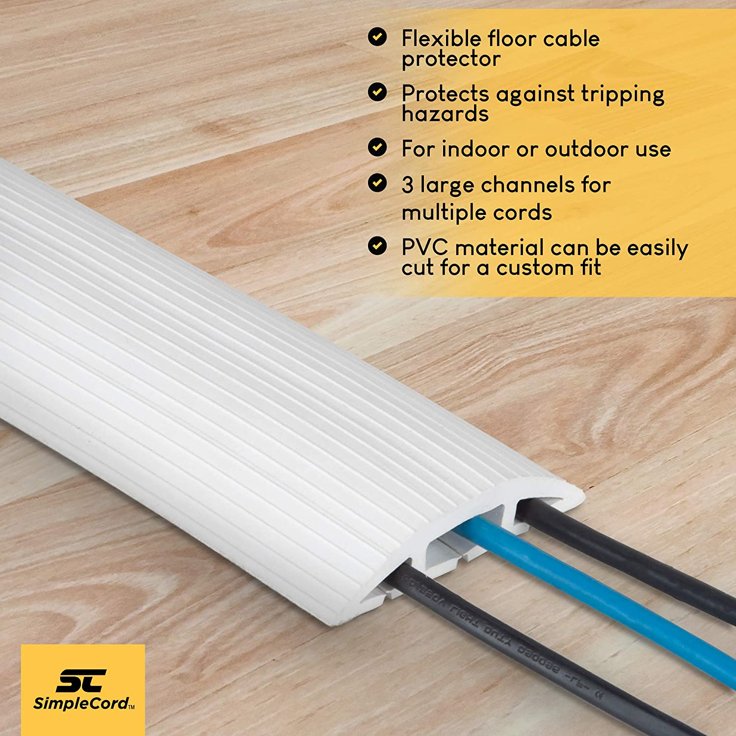 Floor 4 Ft White Cord Protector Covers Cables Cords Or Wiring Channels Pvc Wires 3 Channel On Raceway For Sidewalks Walkways In The Home Office