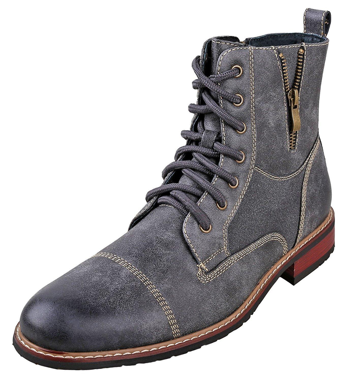 Ferro Aldo MFA-808561 Grey Mens Lace up Military Combat Work Desert Ankle Boot Size 11