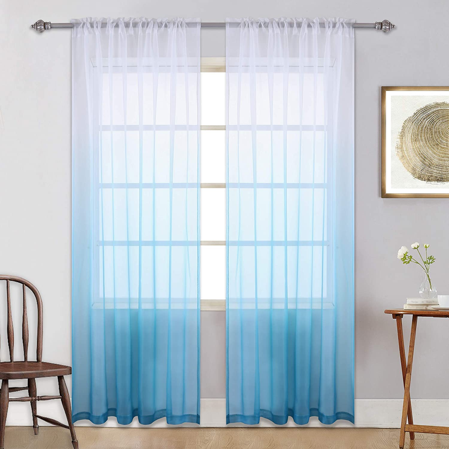 AmHoo 2 Panels Ombre Semi Sheer Curtains for Girls Bedroom Unicorn Gradient Voile Draperies Window Treatment for Kids Room Decor Rod Pocket Orange and Turquoise 52 x 84 Inch