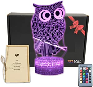 TriPro Owl Bird 3D Illusion Bedroom Decorations Night Light Table Lamp with Greeting Card,16 Colors Touch Remote Control Room Decor Gifts for Girls, Men, Women, Kids, Boys, Teens